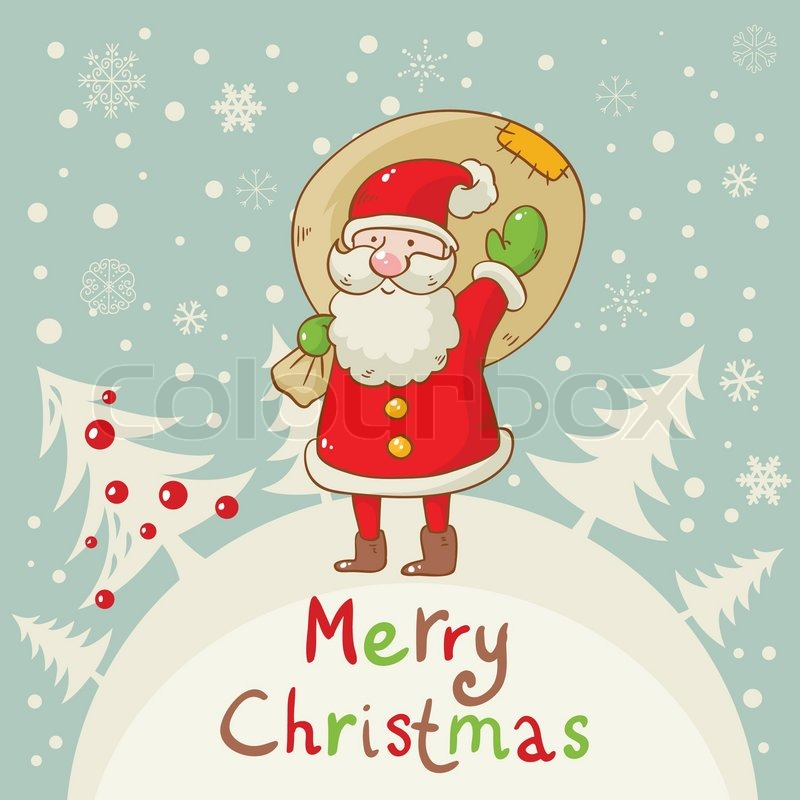 Merry Christmas card with cute Santa and a sack of presents | Stock ...