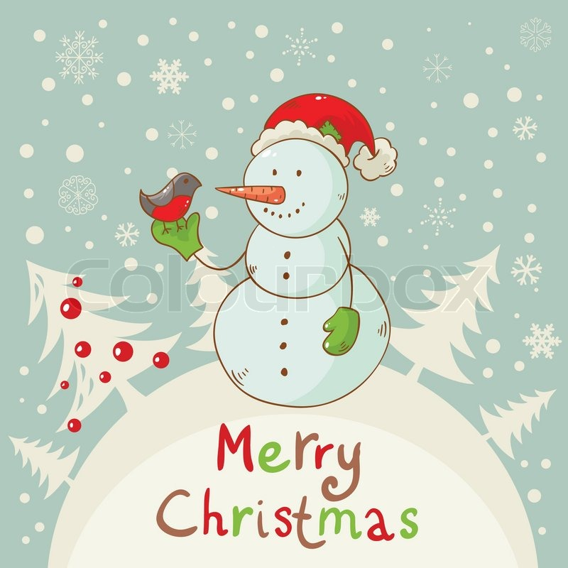 Merry Christmas Greeting Card With Cute Snowman Stock