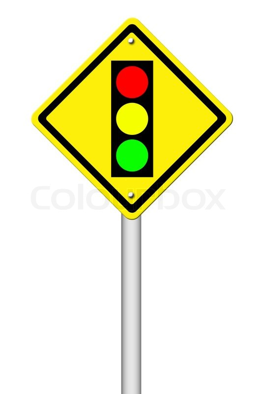 Traffic Light Ahead Warning Sign On White Background Stock Photo