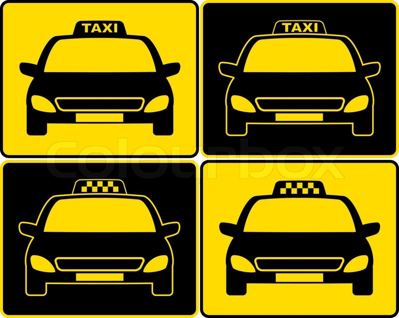 Set of cabs silhouette with taxi signs | Stock vector | Colourbox