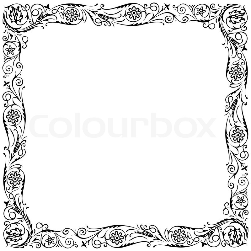 Design Frame With Swirling Floral Decorative Ornament