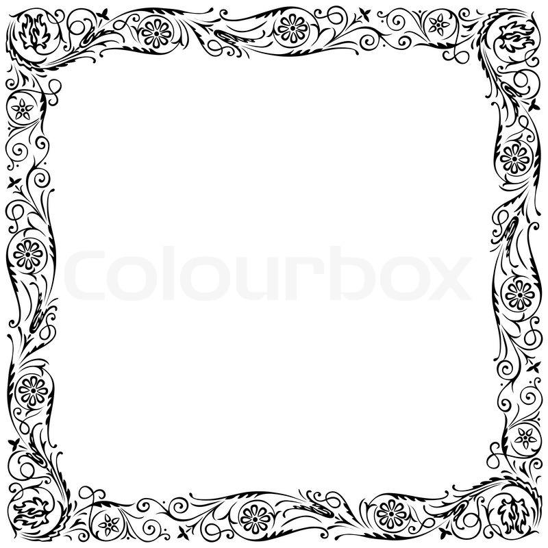 Black Flower Decorative Frame Vectors Material 04 Free: Design Frame With Swirling Floral Decorative Ornament