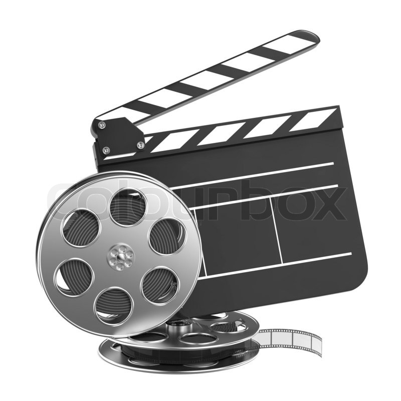 clapboard and film reel with film stock photo colourbox