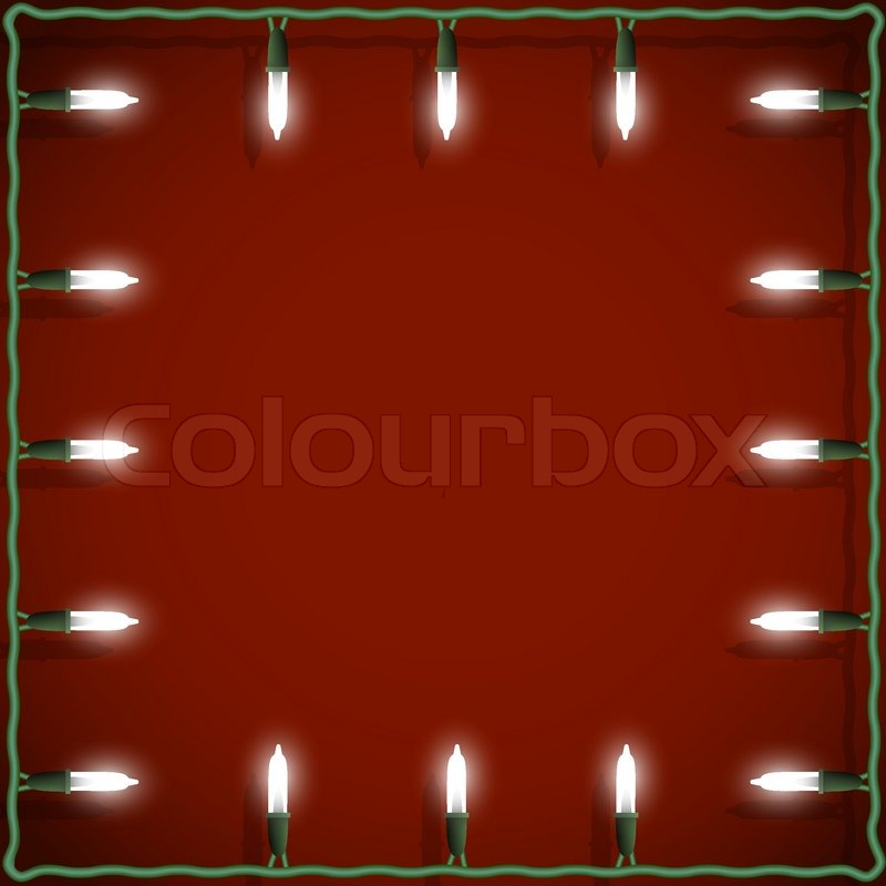 christmas lights frame on red background stock vector colourbox