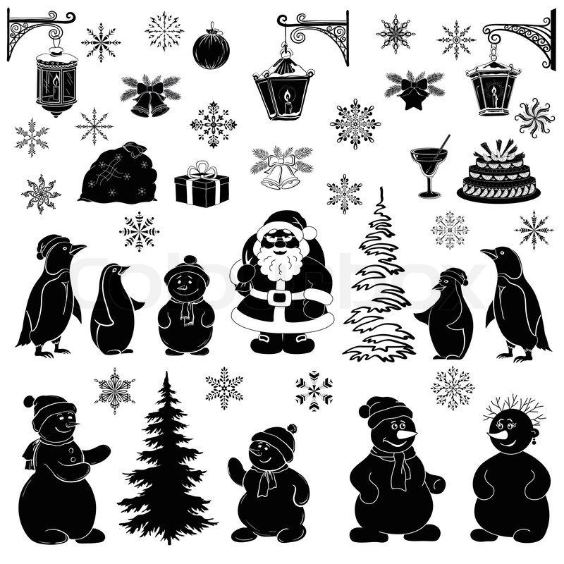 weihnachten cartoon set schwarze silhouetten stockfoto. Black Bedroom Furniture Sets. Home Design Ideas