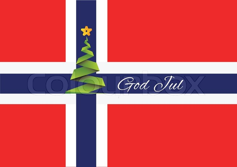 Merry Christmas In Norwegian.Merry Christmas Background Vector God Stock Vector