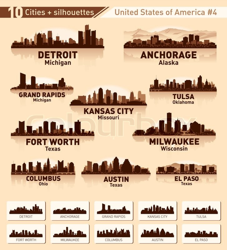 Skyline city set 10 cities of usa 4 stock vector for Fort worth texas tattoo shops