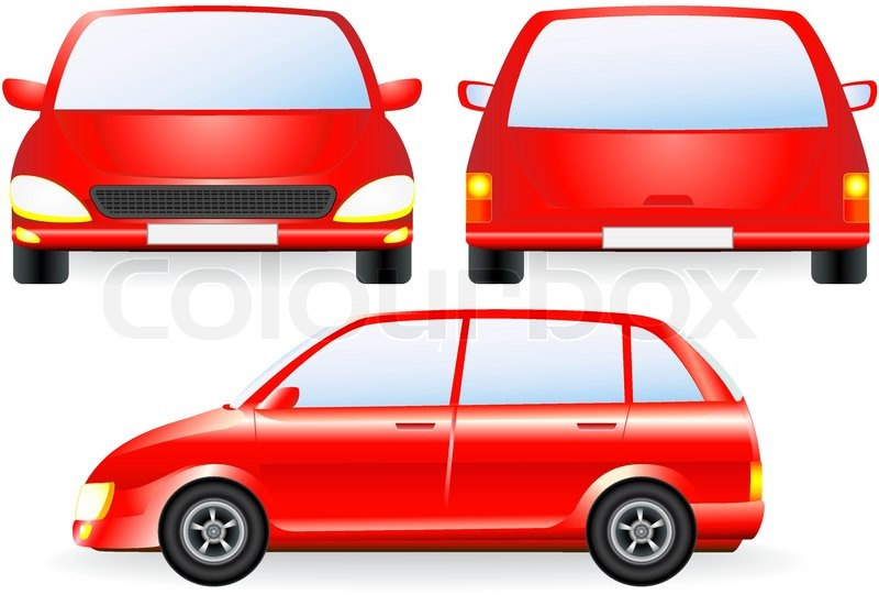 red isolated car silhouette front and profile icon. Black Bedroom Furniture Sets. Home Design Ideas