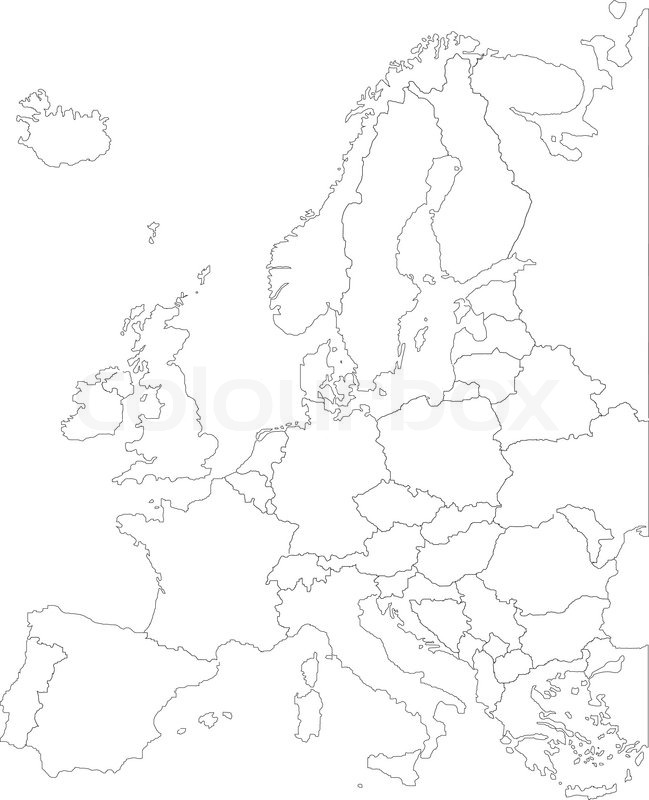 Europe map EPS with borders white  Stock Vector  Colourbox