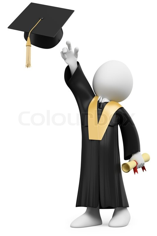 3D student dressed in cap and gown on graduation day | Stock Photo ...
