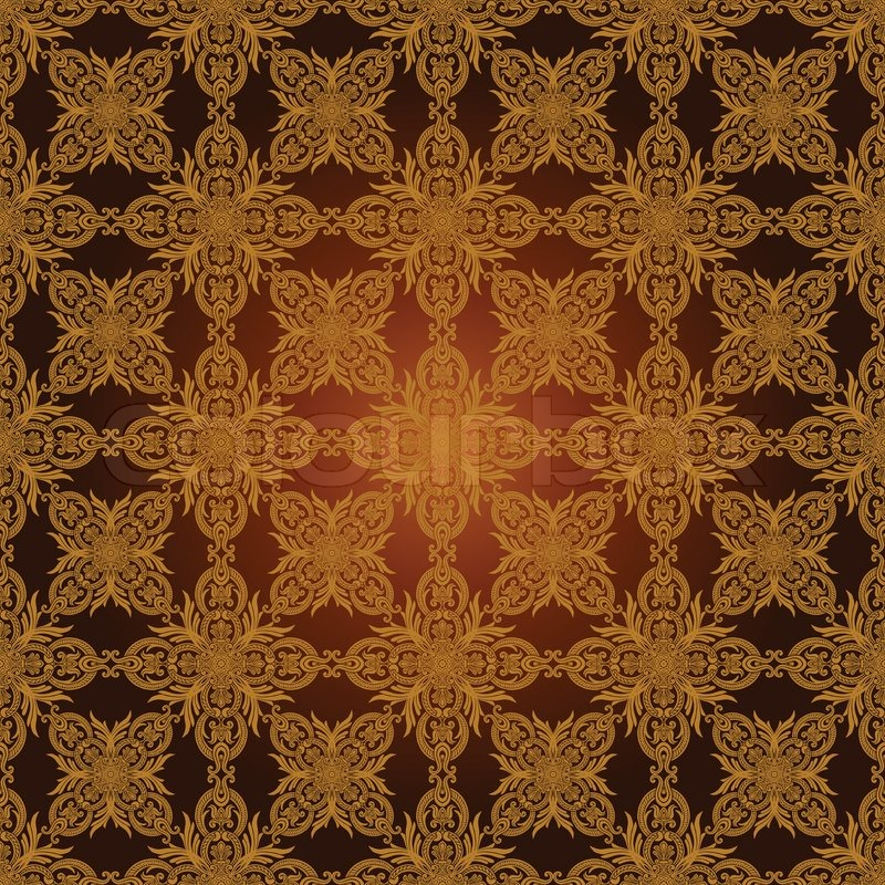 Vintage Beautiful Background With Rich Old Style Luxury Ornamentation Fashioned Seamless Pattern Royal Gold Brown Vector Wallpaper Floral
