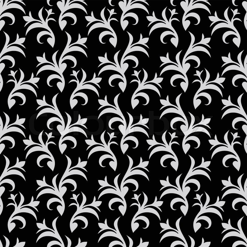 Vintage Beautiful Background With Retro Style Ornamentation Fashioned Seamless Pattern White And Black Colors Vector Wallpaper Floral Swatch Fabric For