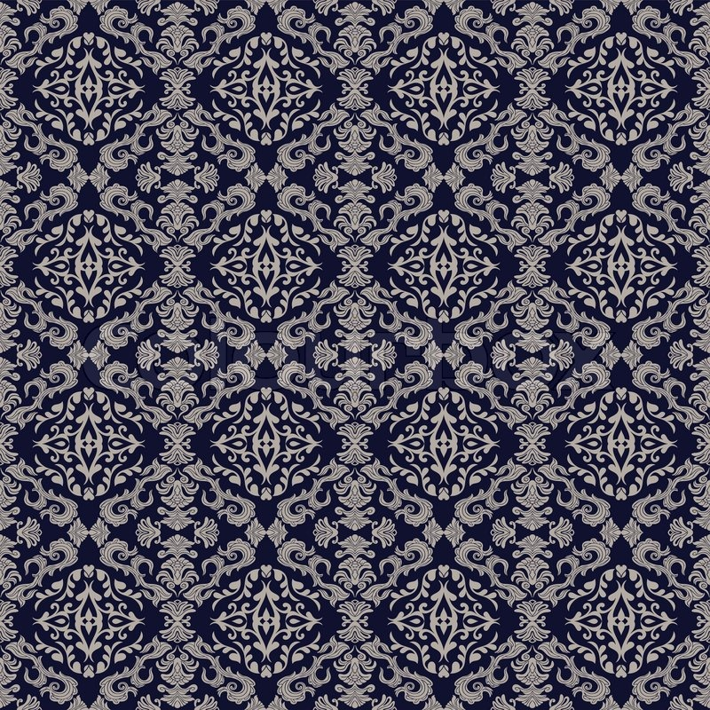Vintage Beautiful Background Rich Old Style Luxury Ornamentation Fashioned Seamless Pattern Royal Blue Color Vector Wallpaper Floral Oldest