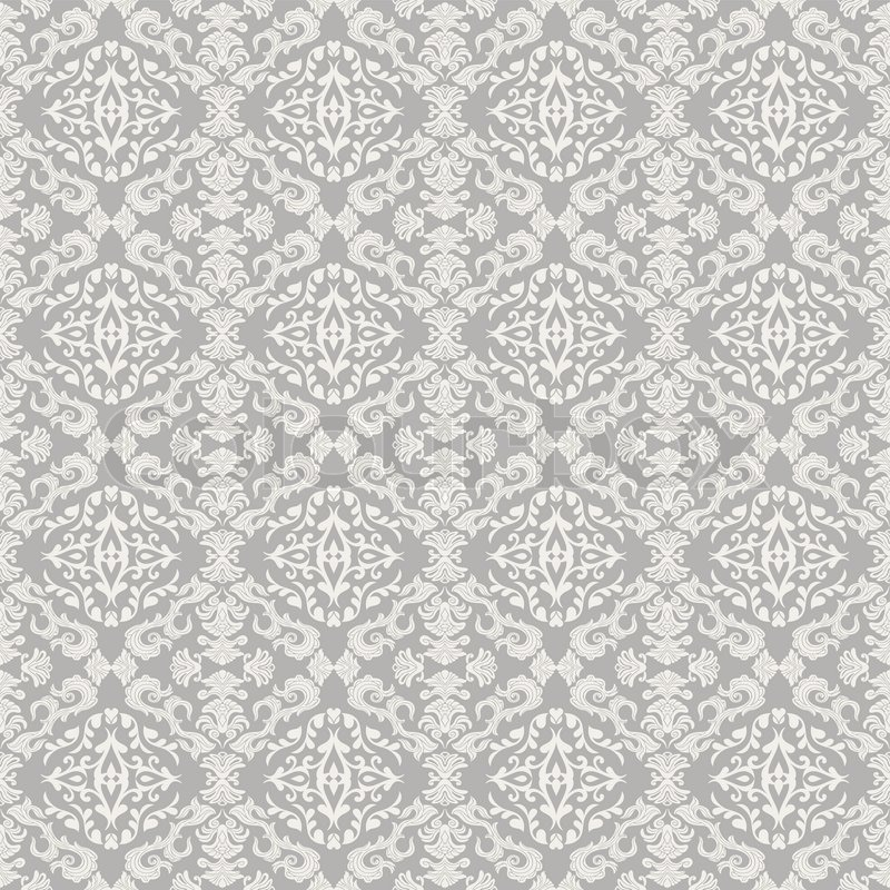 Vintage Beautiful Background With Rich Old Style Luxury Ornamentation Fashioned Seamless Pattern White Gray Colors Vector Wallpaper Floral
