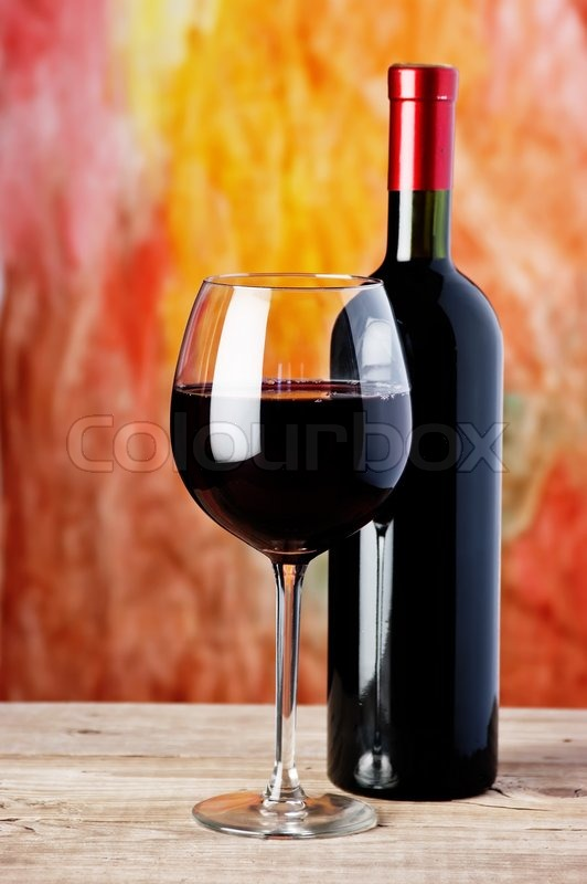 Bottle and glass of red wine stock photo colourbox for Red glass wine bottles suppliers