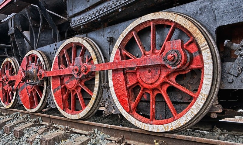 Old Steam Locomotive Engine Wheel And Rods Details Stock Photo Colourbox