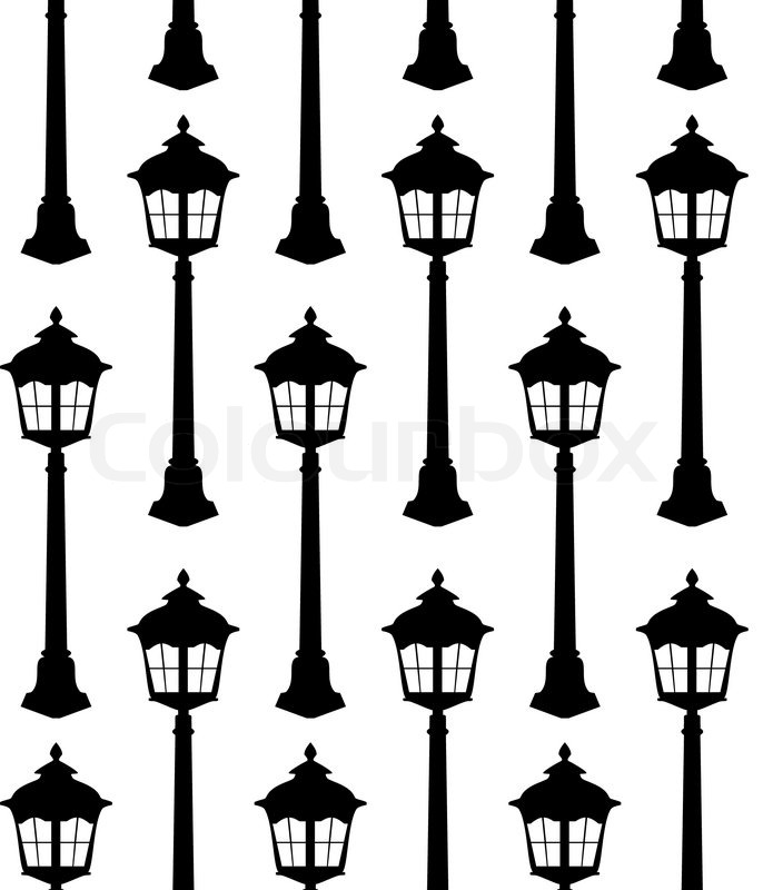 Old Lantern Silhouette Seamless Pattern Vector