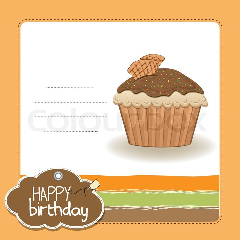 Cute Happy Birthday Card With Cupcake Vector Illustration Stock