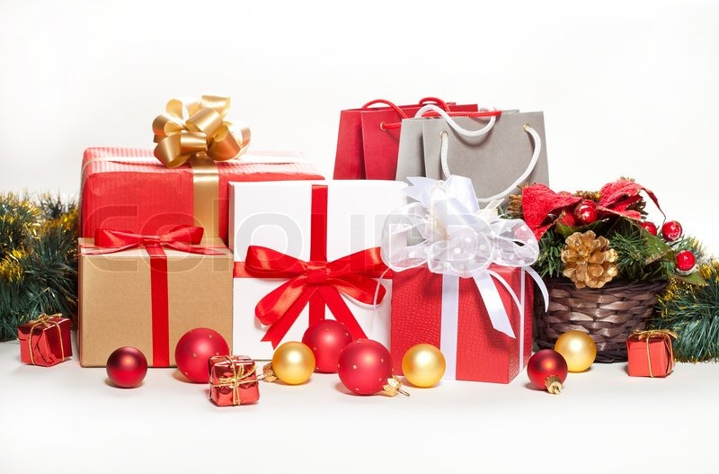 christmas gifts and decorations on a white background stock photo colourbox