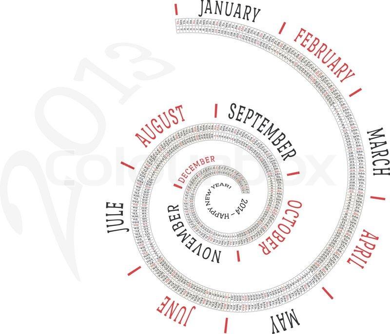 2013 calendar spiral, vector