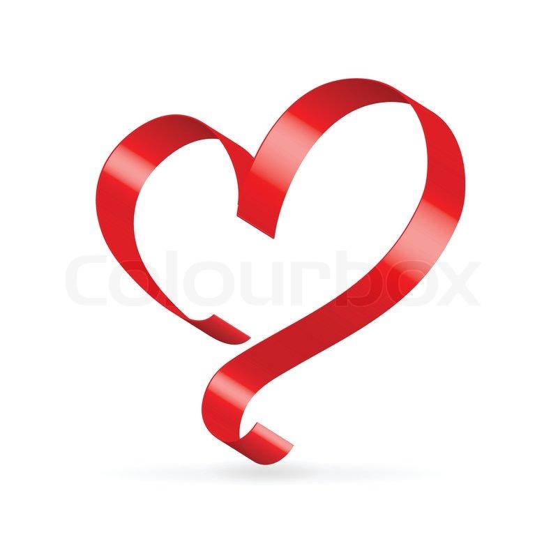 Red Satin Ribbon Heart Stock Vector Colourbox