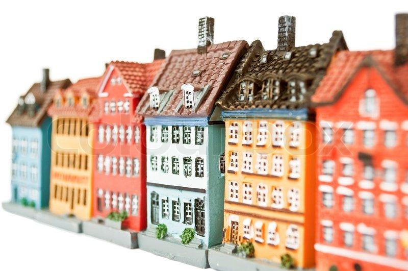 Kopenhagen In Miniatur H User Isoliert Wei Stockfoto
