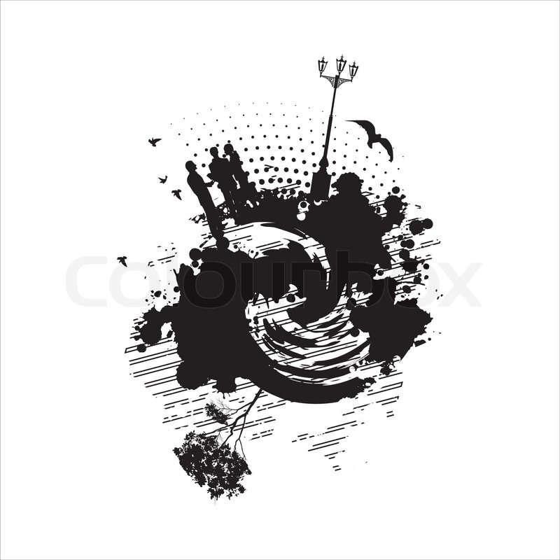 Business People Communicate On An Abstract Painting In Black And White