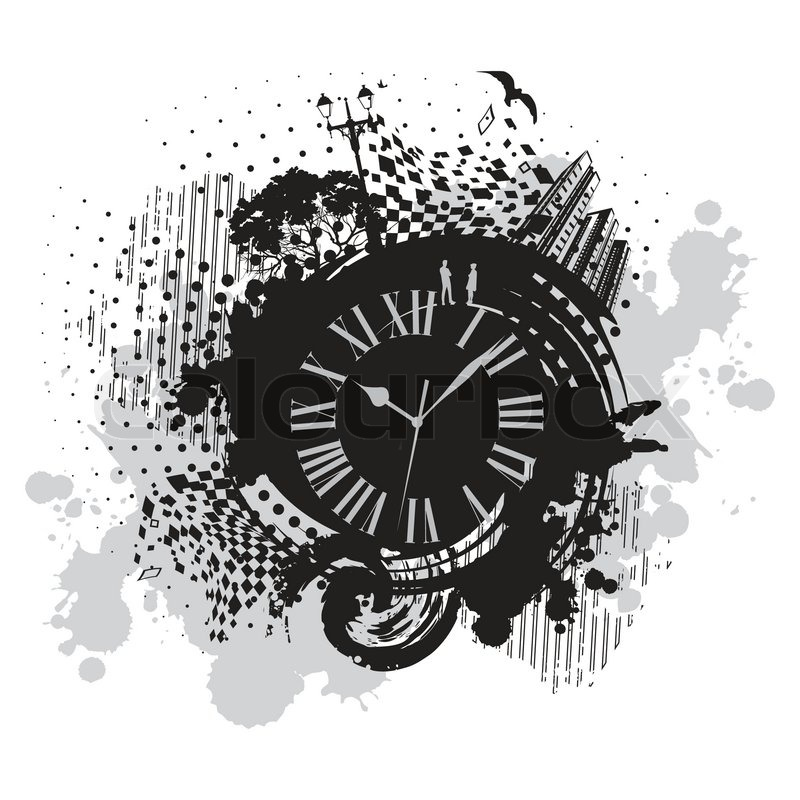 Vintage Wallpaper Background With Clock