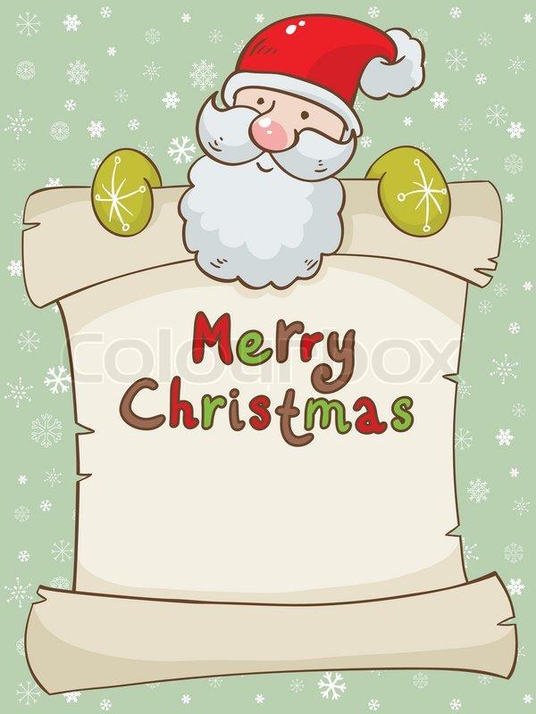 Christmas card with cute Santa and scroll | Stock Vector | Colourbox