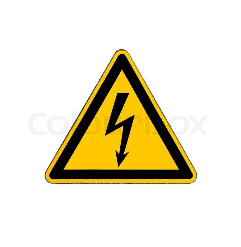 Elektrische Gefährdung Hochspannung Zeichen isoliert auf weiss ...
