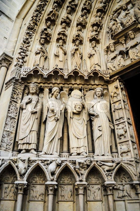 Notre Dame Cathedral sculpture, stock photo