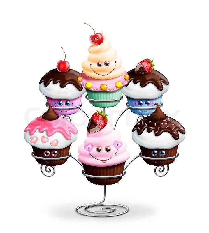 Whimsical Kawaii Cute Cartoon Cupcake Stand stock photo