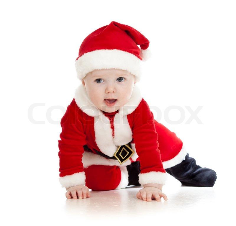 crawling santa claus baby boy stock photo - Santa Claus For Kids