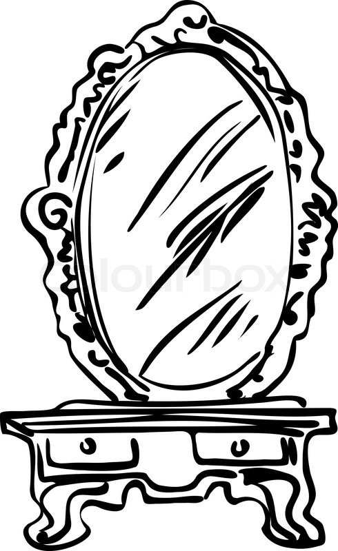 Sketch of large mirror on a     | Stock vector | Colourbox