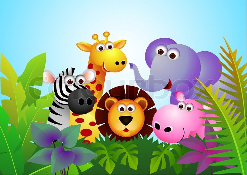 cute animal cartoon in the jungle stock vector colourbox forest animal clip art for kids forest animal clipart black