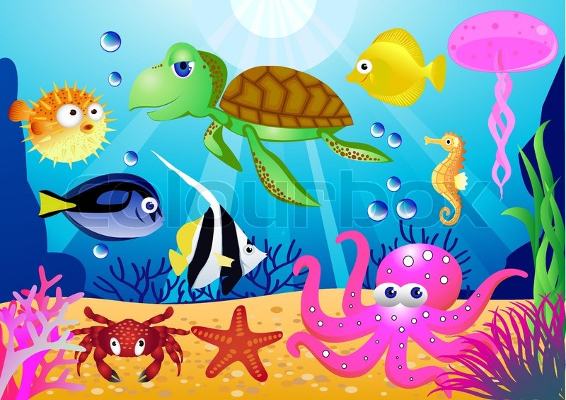 sealife cartoon stock vector colourbox rh colourbox com Under the Sea Scene Cartoon Cartoon Ocean Plants
