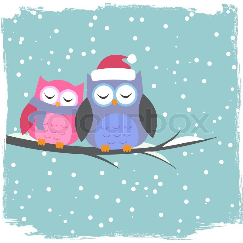 winter card with cute owls stock vector colourbox