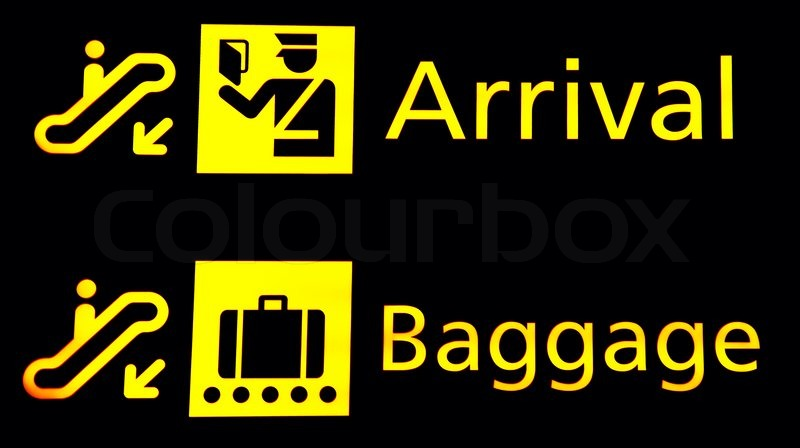 Arrival And Baggege Signs At The Airport Stock Photo Colourbox