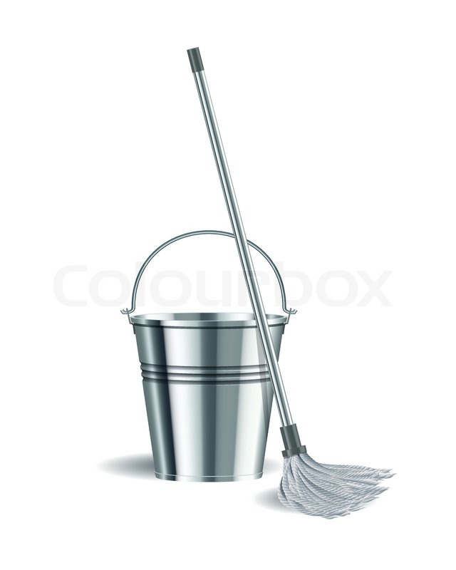 Bucket And Mop On White Background Stock Vector Colourbox