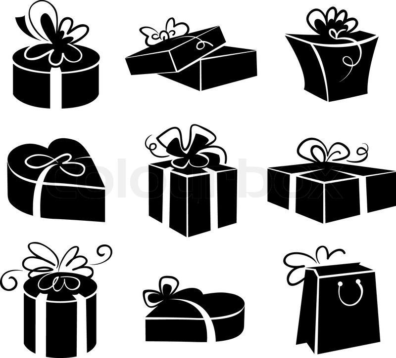 reihe von geschenk boxen ikonen schwarz wei illustrationen vektorgrafik colourbox. Black Bedroom Furniture Sets. Home Design Ideas