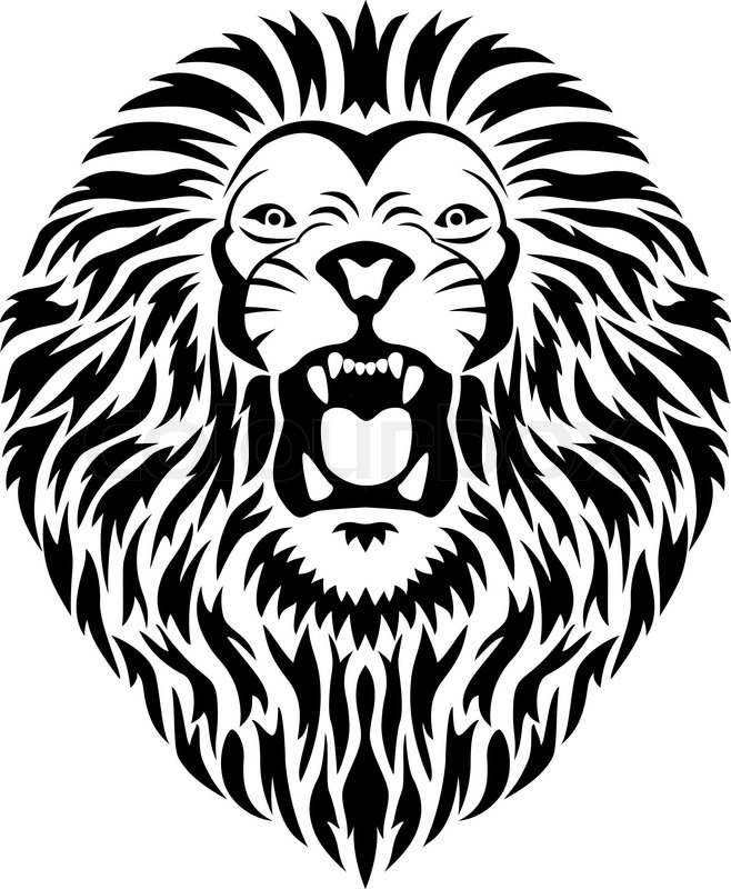 lion head tattoo | stock vector | colourbox