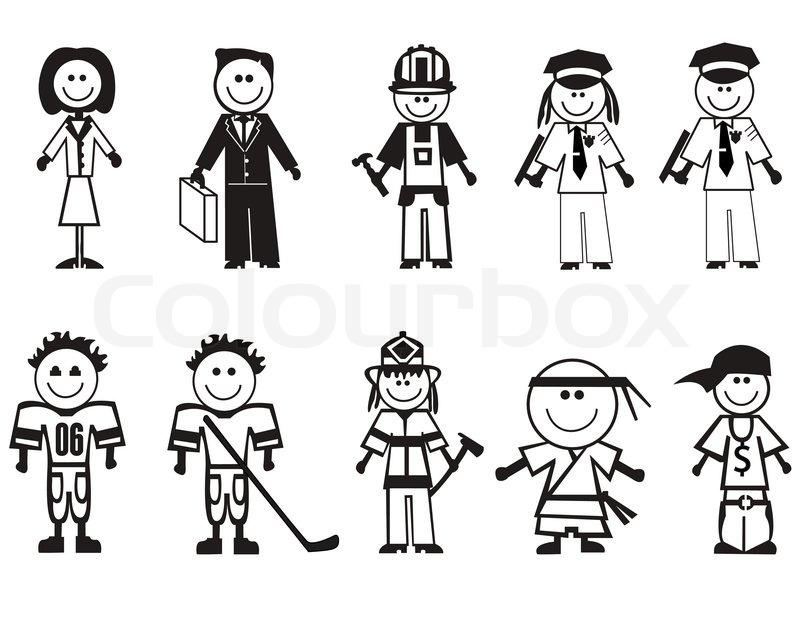 Cartoon-Berufe-Symbole | Vektorgrafik | Colourbox