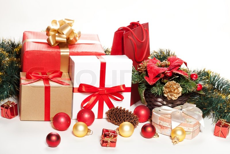 Christmas gifts and decorations on a white background | Stock Photo ...