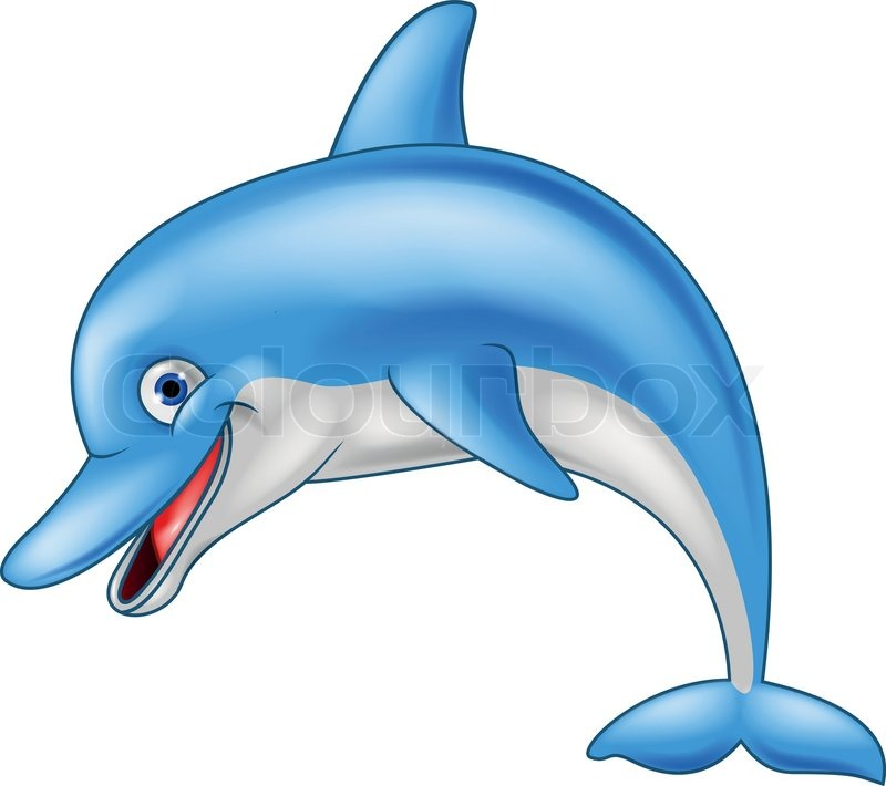 Vector illustration of Happy dolphin cartoon stock vector: colourbox.com/vector/happy-dolphin-cartoon-vector-5148756