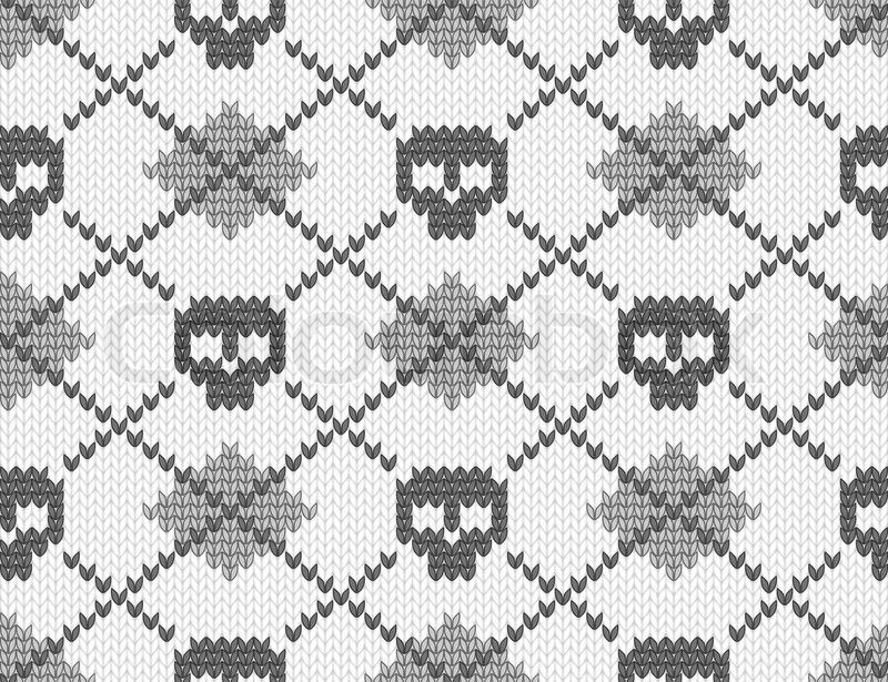 Knitted pattern with skulls Stock Vector Colourbox