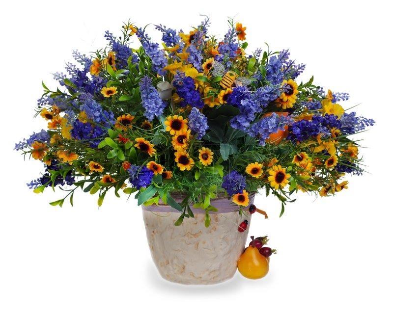 Rose Flower Arrangement Centerpiece : Colorful floral bouquet of lilies sunflowers and irises