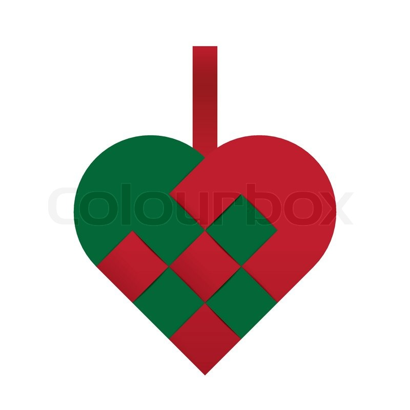 Christmas Heart Vector.Green And Red Braided Christmas Heart Stock Vector