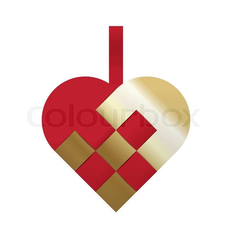 Christmas Heart Vector.Red And Gold Braided Christmas Heart Stock Vector Colourbox