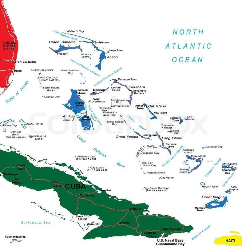 Highly detailed vector map of Bahamas with administrative regions ...