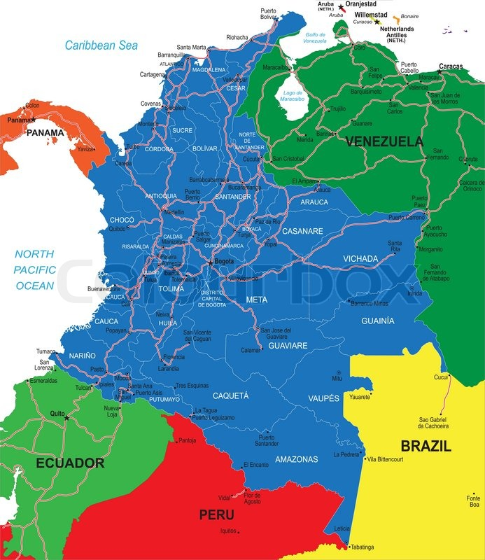 Highly detailed vector map of Colombia with administrative regions